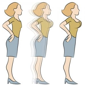 Cartoon drawing of 1 woman wearing blue skirt and mustard-colored top transitioning from being flat chested to full chested.